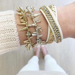 Stella & Dot White Gilded Path Wrap Bracelet